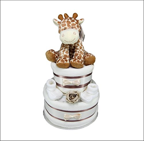 Unisex Baby Boy Girl Two Tier Nappy Cake with Cute Giraffe New Born Baby Shower Gift Tiny Togs Ltd