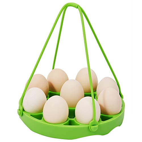 PRAMOO Silicone Egg Steamer Rack for Instant Pot Accessories, Pressure Cookers Sling Holds 9 Eggs for 5/6, 8 Quart