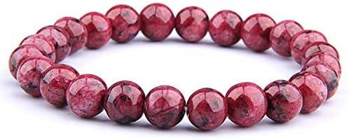 JMWJD 女性男性ファッションラピスラズリブレスレット弾性エネルギーオムジュエリー天然石ビーズのブレスレット (Color : Red jade, Size : 17cm)