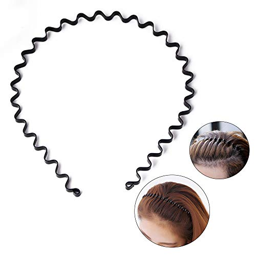 S SIFUNUO Unisex Black Spring Wavy Metal Hair Hoop Band Men Women Sports Headband Headwear Accessories