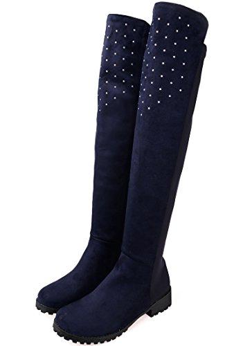 BIGTREE Botas sobre la rodilla Mujer Casual Otoño Invierno Brillante Rhinestones Cómodo Planas Sintética Ante Botas largas De Azul