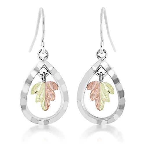 - Landstroms Black Hills Teardrop Earrings in Sterling Silver with 12k Gold Split Leaf