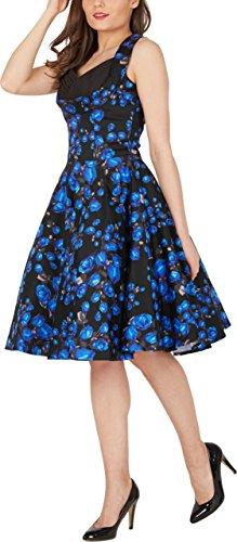 Rosas Vestido Harmony Años Classic 50 Azules 'Aura' BlackButterfly qzUa7x