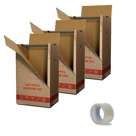 Set 3 cajas armario de cartón por ropa de percha 500x600x1100 mm. + 1 rollo de cinta adhesiva gratis: Amazon.es: Industria, empresas y ciencia