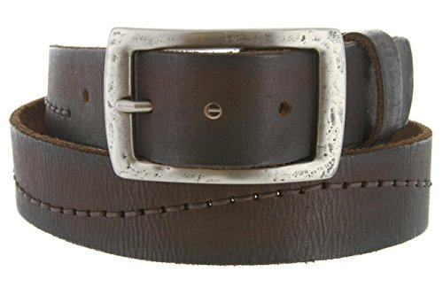 One Piece Full Grain Wave Stitched Vintage Leather Belt With Silver Finish Buckle For Men(Brown,36) (A198 One Piece Buckle Belt)