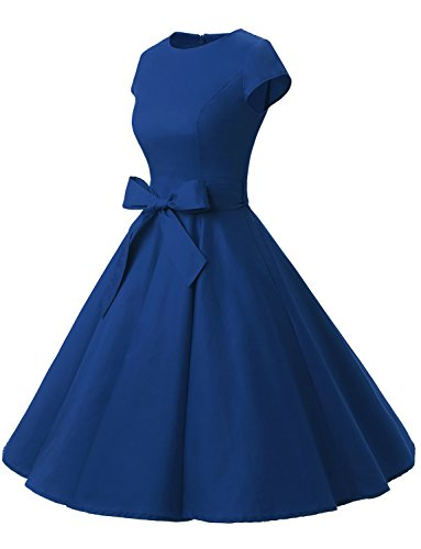 Dressystar Rockabilly Vestidos Manga Corta 60s Royal Corto Elegante 50s Blue Coctel Vintage Mujer OOZ48rq1w