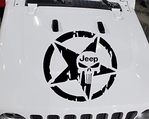 15-22 Punisher Skull hood decal sticker compatible with Jeep Rubicon Unlimited sport YJ TJ JK JK JL JLU MULTI-COLOR