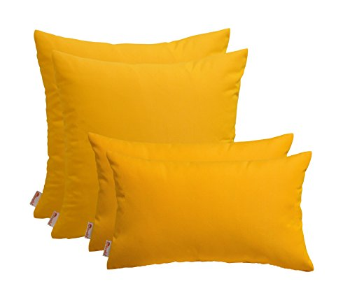 (RSH Décor Set of 4 Indoor/Outdoor Pillows- Square & Rectangle - Sunbrella Sunflower)
