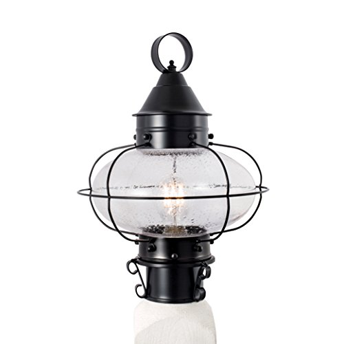 (Norwell Lighting 1321 Cottage Onion - One Light Medium Post (Black w/Seedy Glass))
