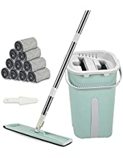 VAIIGO Mop and Bucket Set with 10 Reusable Microfiber Mop Pads Hand-Free Wringing Cleaning Mop Bucket Wet and Dry Use for Office & Home & Kitchen Floors Cleaning
