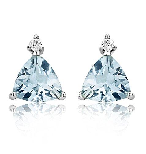 Miore - Boucles d'Oreilles femme - Or blanc 375/1000 (9 carats) 0.6 gr - Aigue Marine et diamant 0.02 cts