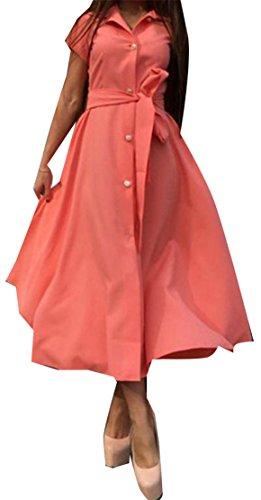 Giù Benda Irregolare Corta Fenditura Donne Vestito Arancione Il Tasto Cromoncent Manica Pulsante C1tqOt8w