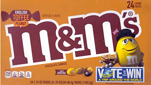 M&M Limited Edition English Toffee Peanut Chocolate Candies | Kids Favorite Candy |1.74 Ounce/24 Pack ()