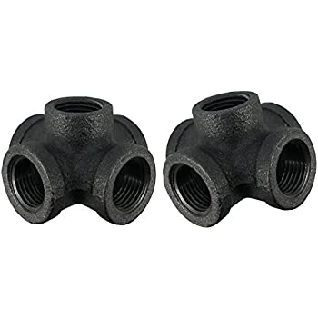 LDR Pipe Décor Industrial Steel Grey ½ Inch 5-Way Decorative Fitting (2-Pack)