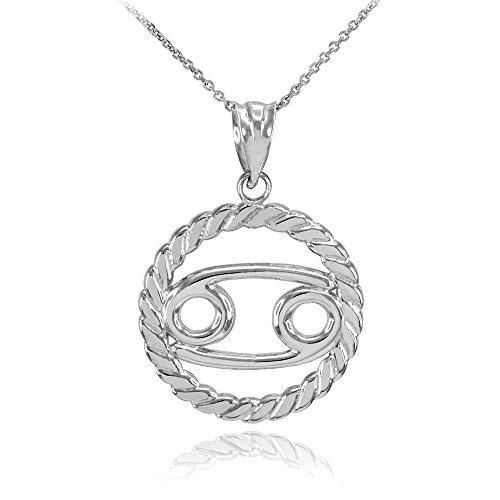 Collier Femme Pendentif 925 Argent Fin Cancer Zodiaque Signe À Cercle Corde (Livré avec une 45cm Chaîne)