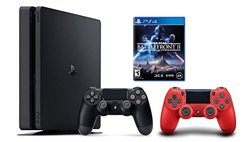 PlayStation 4 Slim 1TB Console 2 items Bundle: PS4 Slim – Star Wars Battlefront II Bundle and Sony PlayStation 4 Dualshock 4 Wireless Controller Red