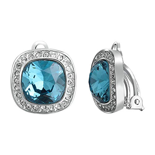 Yoursfs Clip-on Earrings -Blue Crystal 13mm Halo Round Cubic Zirconia Clip Earrings
