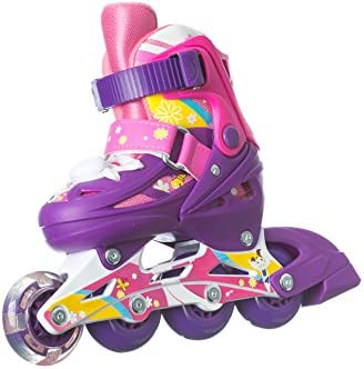 Titan Flower Princess Girls Inline Skates with LED Light-up Front Wheel and LED Laces, Multiple Size and Color Options
