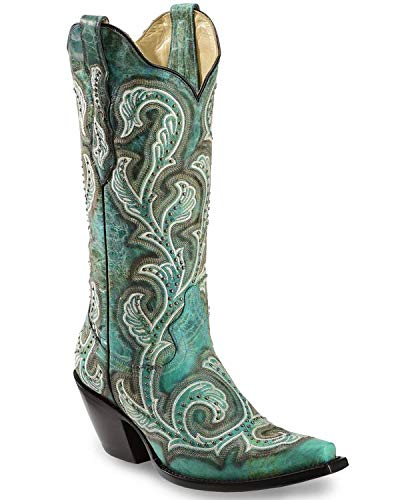 CORRAL Women's Shaded and Studded Cowgirl Boot Snip Toe Turquoise 7.5 M US ()