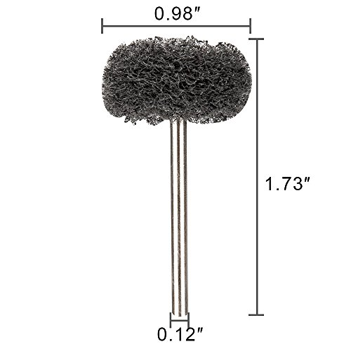 Rocaris 1'' (25mm) Black 300 Grit Abrasive Buffing Polishing Wheels Burr For Proxxon Dremel Rotary Tools-1/8''(3mm) Shank Pack of 50Pcs by Rocaris (Image #1)