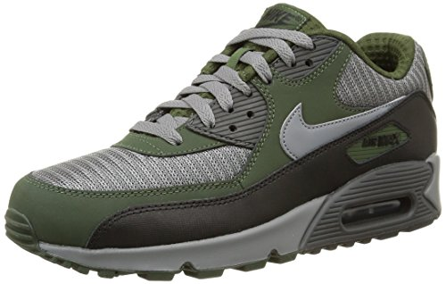 Nike Air Max 90 Essential, Men's Running Shoes, Gris/Black/Verde (Cool Grey/Cl Grey-Blk-CRBN Grn), 12 UK (47.5 EU)