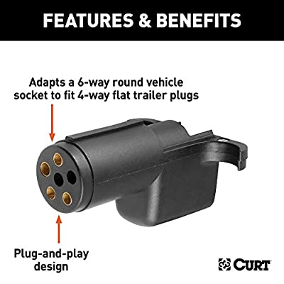 CURT 57620 Towing Electrical Adapter, 6-Way Round Vehicle Side to 4-Way Flat Trailer Side: Automotive