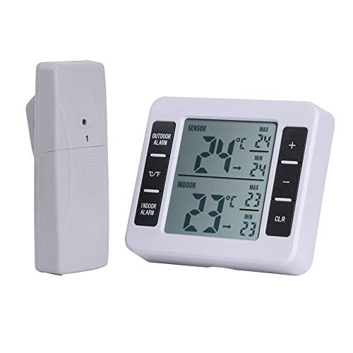 GEEAIR Wireless Digital Audible Alarm Indoor and Outdoor Thermometer with 2Pcs Sensor Min/Max Display