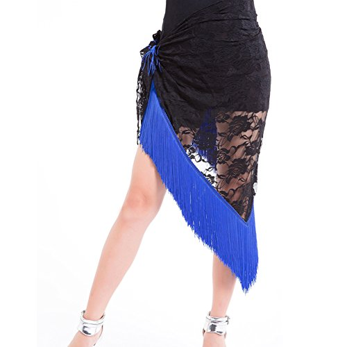 Jlong Women Lace Belly Latin Dance Hip Scarf Tassles Fringe Wrap Belt Skirt (Fringe Hip Belt)