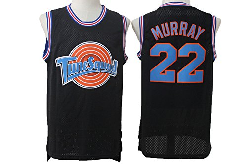 Bill Murray Mens Tune Squad #22 Basketball Murray Black Mesh Space Jam Movie Jersey XL