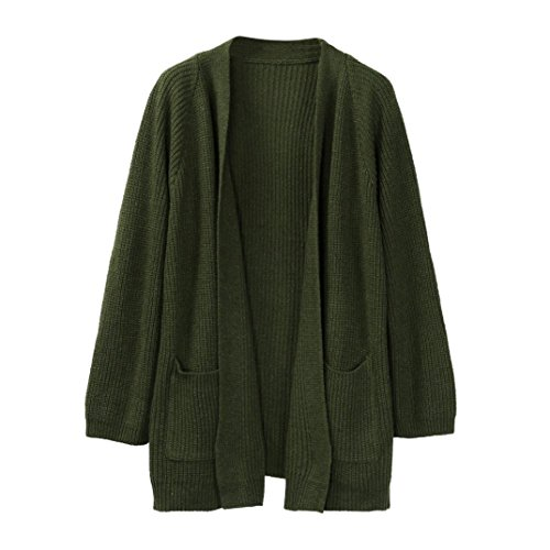 Challyhope Women Loose Fit Long Sleeve Open Cardigan Warm Sweater Coat with Pockets (Free, Green) - Fit Broadcloth