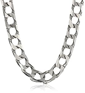 Men's Sterling Silver Italian 8.00 mm Solid Curb Link Chain Necklace 18""