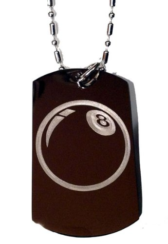 8 Ball Pool Billiards Logo Symbols - Military Dog Tag Luggage Tag Key Chain Keychain Metal Chain Necklace ()
