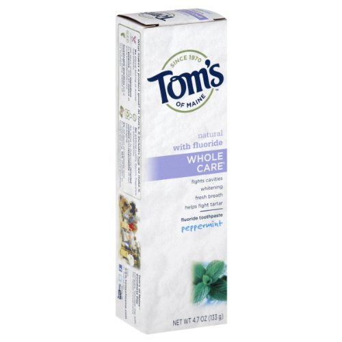 Tom's of Maine Whole Care with Fluoride Natural Toothpaste, Peppermint 4.7 oz (Pack of 6)