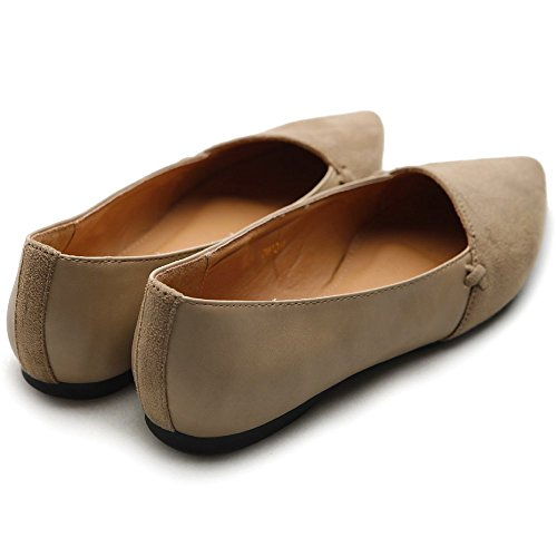 Ollio Scarpa Da Donna Per Balletto Comfort Finta Pelle Scamosciata Sabbia