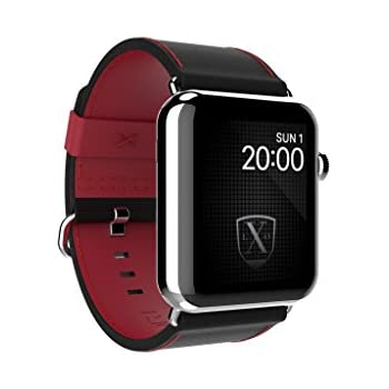 a50a418801d LUXEORA Bravo Nylon Web Leather Band Strap with Polished Stainless Steel  Buckle - 44 42mm - Nighthawk Black and Red - Compatible with Apple Watch  Series 4 3 ...