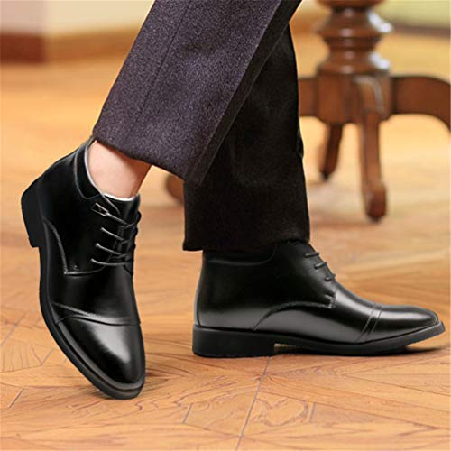 Composto Stivali di Tacco Medio Shoes Suola Mantenere Caldo Stivali Dita up Gomma Autunno Pizzo Martin Uomo Confortevole Blocco Nero Punta Inverno CBXqrBxw
