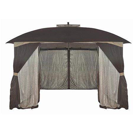 - Over-Sized,Unique and Attractive Mainstays Botanical Vine and Leaf Patterned Sheer Netting Gazebo,10' x 12',with 4-Sided Solid Privacy Panels and Ground Stakes Included