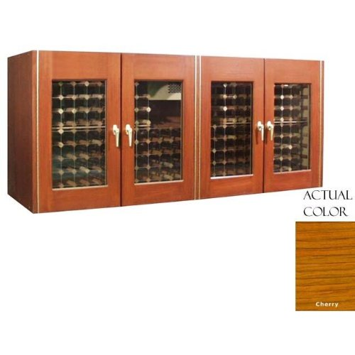 400-Model White Oak Wine Credenza with 4 Glass Doors by Vinotemp - Wine Refrigerator Credenza
