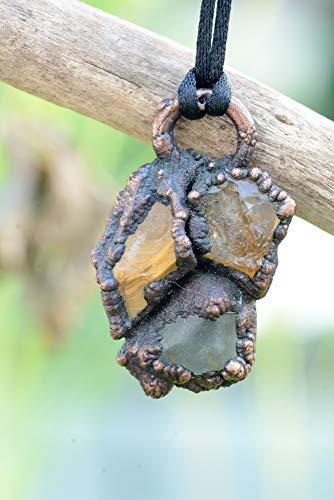 Yellow Fluorite Ring (Yellow Jasper - Citrine - Fluorite - Copper Electroformed Necklace)