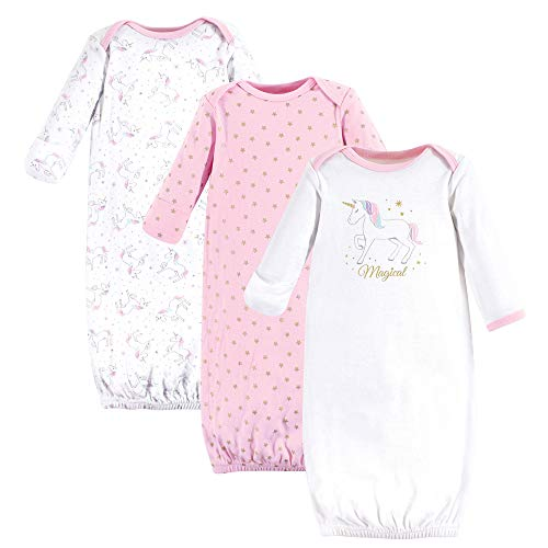 Hudson Baby Unisex Baby Cotton Gowns, Magical Unicorn 3-Pack, 0-6 Months ()