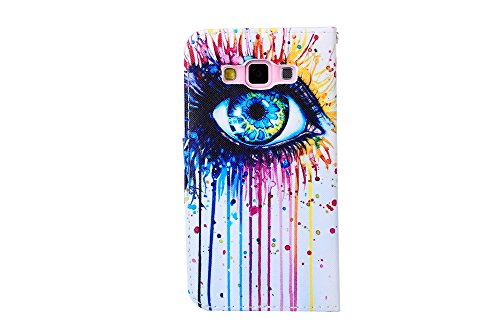 Huawei P8 Lite Funda - Felfy Huawei P8 Lite Dibujo Colorido Cute Girl Pattern Magnético Closure Style Cuero PU Billetera [Stand Feature] Flip Folio Protective Funda with Lanyard Strap Carrying Carcasa Painting Eyes