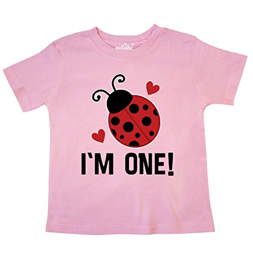 - inktastic - 1st Birthday Ladybug 1 Year Old Toddler T-Shirt 4T Pink 33746