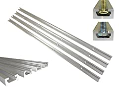 """T Track has unlimited uses in the shop when making jigs and fixtures used on woodworking and metal working machines. This T track is precision extruded and is 3/8"""" thick and 3/4"""" wide. The inside groove will accept standard 1/4 inch hex bolts..."""