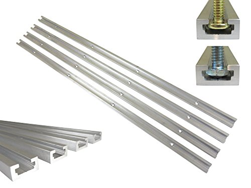 Lot 4 Each 24' Aluminum T Track 3/4' by 3/8' Slot, Accepts 1/4' Hex Bolts, 1/4' and 5/16' T Bolts, Countersunk Holes Every 6' 112114