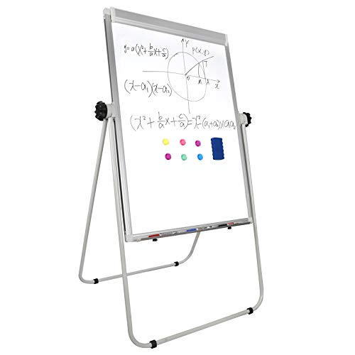 F2C 40 x 28 inches Double-Sided Magnetic Whiteboard Portable Dry Erase Board Height Adjustable Freestanding Easel Board w/Eraser, 3 Markers, Flipchart Paper Pad, 6 Magnets - Freestanding Bulletin Board