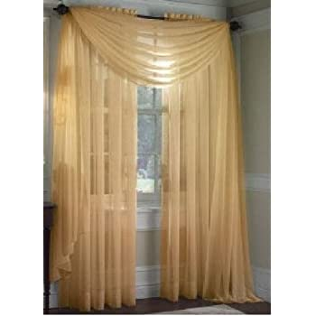 This Item MONAGIFTS GOLD Scarf Voile Window Panel Solid Sheer Valance  Curtains 216 LONG By Jenin