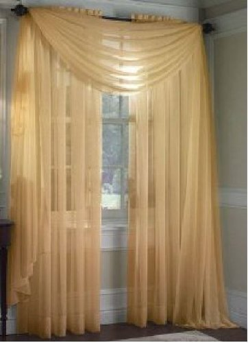 MONAGIFTS GOLD Scarf Voile Window Panel Solid sheer valance curtains 216 LONG by Jenin