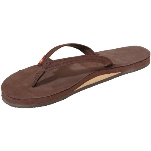 Rainbow Sandals Women's Premier Leather Narrow Strap Single Layer, Expresso, X-Large (8.5-9.5) (Sandals Rainbow Nylon)