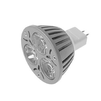 eDealMax CA 12V 3W bola de 3 LED del proyector del bulbo blanco caliente