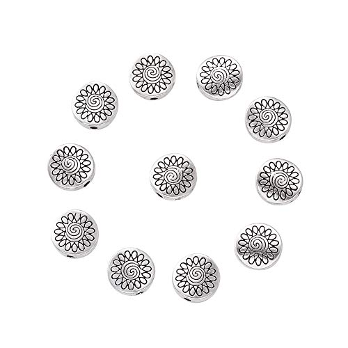 Craftdady 20Pcs Antique Silver Flat Round Star Pattern Spacer Beads 8.5x8.5mm Lead Free & Nickel Free & Cadmium Free Tibetan Metal Loose Beads for DIY Jewelry Craft Making with 1.5mm Hole